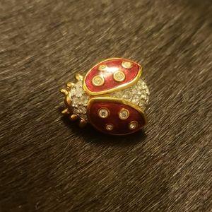 Swarovski Crystal Ladybug pin